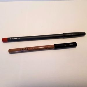 MAC and NYX lip liners (Ruby Woo and Sugar Glass)